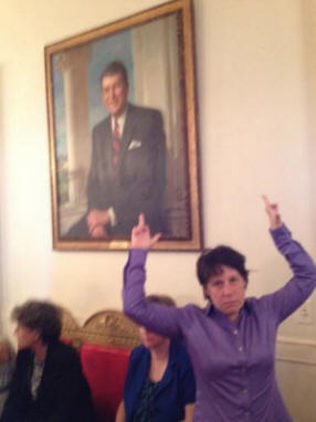 Gay Activists Visiting White House Take Photos of Themselves Flipping Off Reagan Portrait